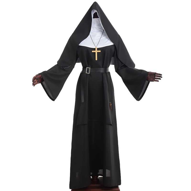 Traje de monja Demonic Scary Cosplay para mujeres adultas, túnicas de sacerdote, ropa de Carnaval de la Virgen María, disfraces de Halloween