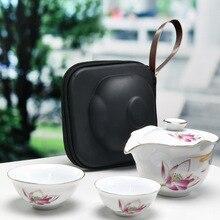 Chinese Travel Kung Fu Tea Set Ceramic Portable Teapot Porcelain Teaset Gaiwan Tea Cups of Tea Ceremony Tea Pot Free shipping стоимость