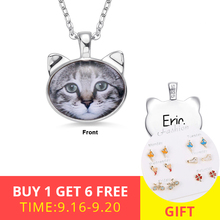XiaoJing Personalized Custom Photo Cat Head Necklaces Pet Memorial Jewelry 925 Sterling Silver Animal Necklace Free shipping