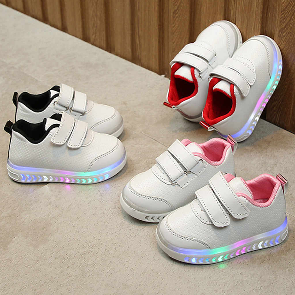 Toddler Kids Shoes Baby Girl Boys Striped Shoes LED Light Up Luminous Sneakers Children Girls All Season Casual Shoes#3