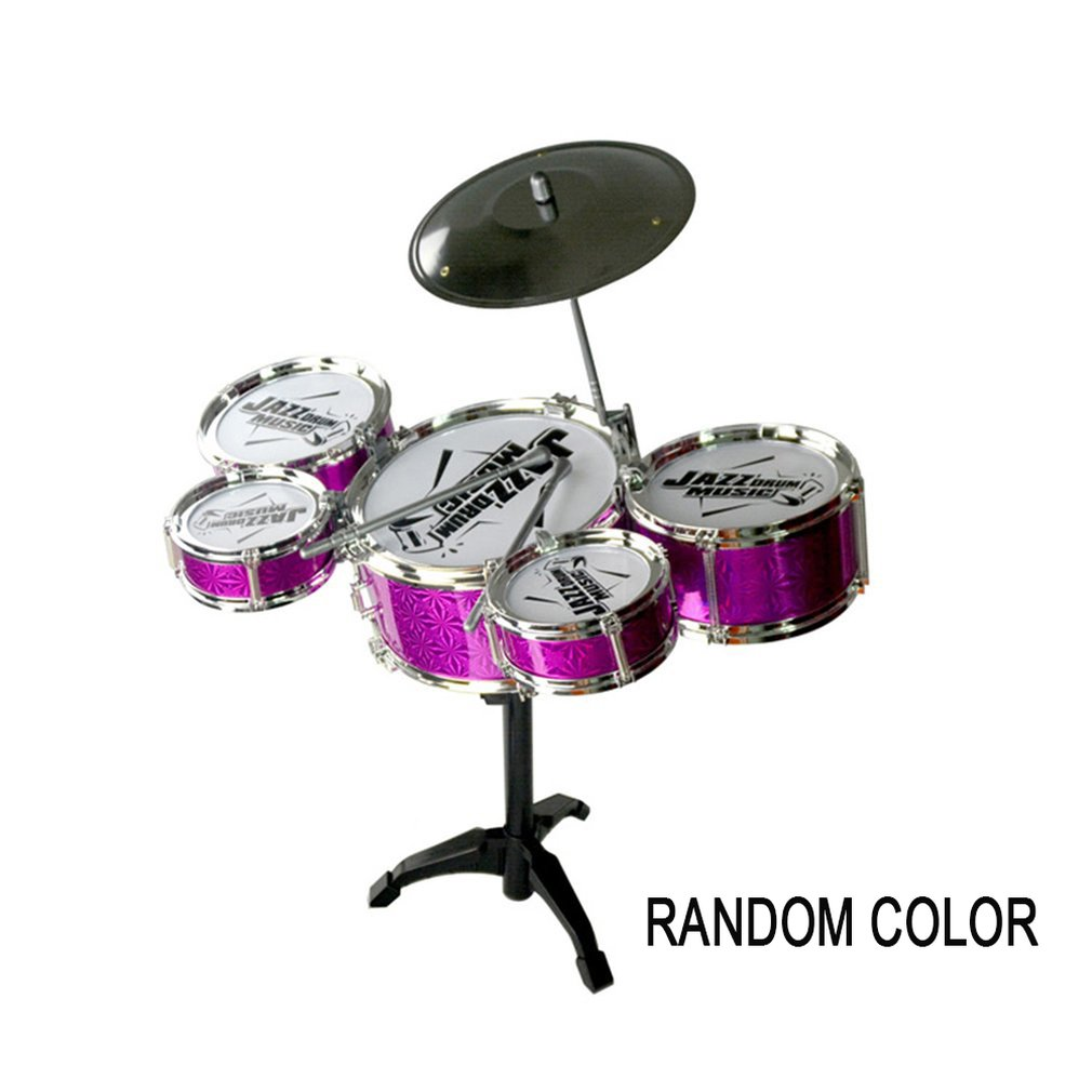 Small 5 Drum Simulation Jazz Drum Children's Educational Simulation Electroplating Beat Drums Best Selling Musical Toys
