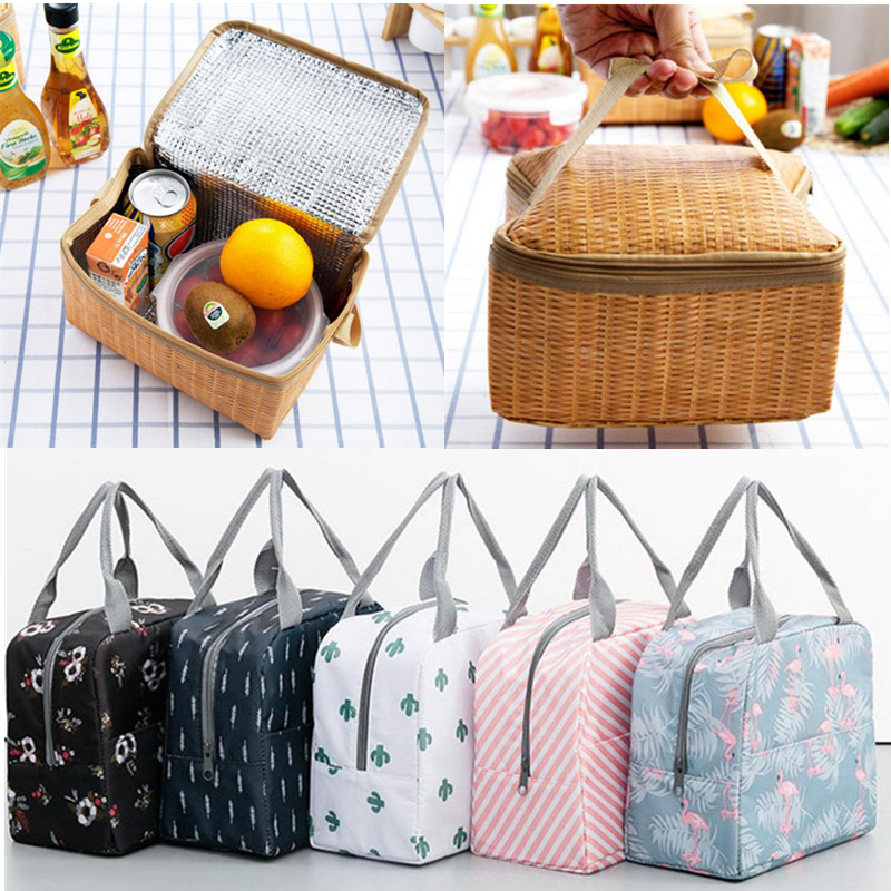 1Pcs Portable Lunch Bag Insulated Container Reusable Outdoor Travel Picnic Bag Thermal School Lunch Box Collapsible Tote Bag