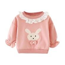 Повседневный утепленный свитшот с длинными рукавами и принтом кролика для маленьких девочек; топы для детей
