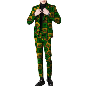 New arrivals African party suits men dashiki print fashion man pant suits plus size blazer with trouser custom made dropship
