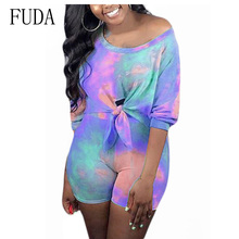 FUDA Summer Tie Dye Print Sexy Two-piece Suit Up Playsuit Feme Women O Neck Half Sleeve Vintage Jumpsuit Cuasual Street Wear