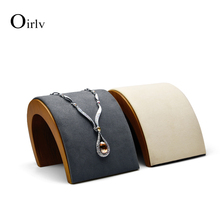 Oirlv Jewelry Display Wooden Necklace Display Jewelry Stand Arched Necklace Holder Showcase with Soft sponge for Jewelry Shop
