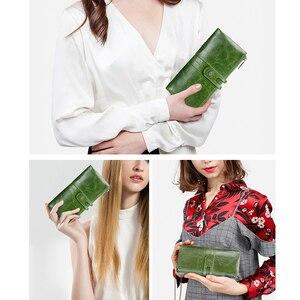 Image 5 - Зеленый красный клатч модный женский кошелек из натуральной кожи, женские длинные кошельки с отделением для карт, с отделение для монет на молнии для iPhone 8 Plus