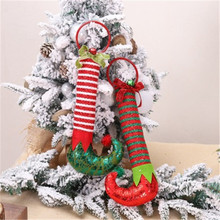 1 PC Elf Feet Christmas Decoration Hanging Ornaments Foot Pendant Hoops Wall Door Ornament New Year Gifts Home Decor