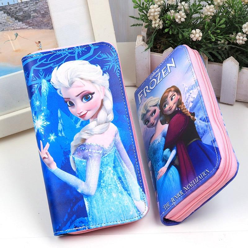 Disney Cartoon Coin Purse  Princess Princess Elsa And Anna Long Women's Wallet Girls Prize Gift Children Christmas Present