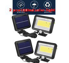 цена на 2/4pcs Solar Power 100/56/30 Led Solar Light PIR Motion Sensor 7 Mode White Wall Garden Light LED Street Lamp With Remote Contro