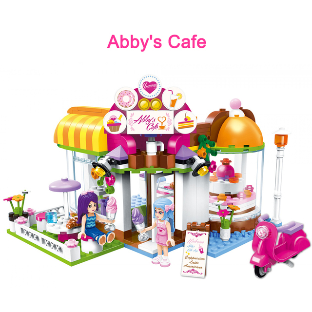 Qman 2003 Abbys Cafe Set Friends Series with Mini figures Educational Building Blocks Toys For Girls DIY Creative Gifts 277PCS