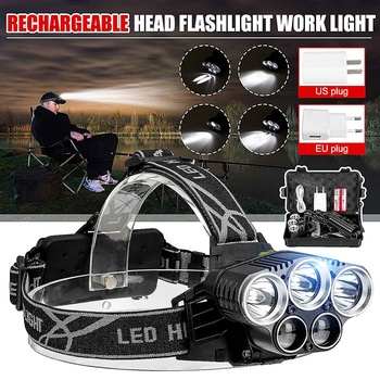 LED Headlight Headlamp 5LED Head Lamp Power Flashlight Torch Head Light 18650 Battery For Camping Fishing Hiking Riding 1