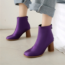 цены Plus Size 34-48 Women Boots High Heels Shoes Zipper Ankle Boots Autumn Winter Silk Snow Martin Boots Sexy Party Fashion Boots