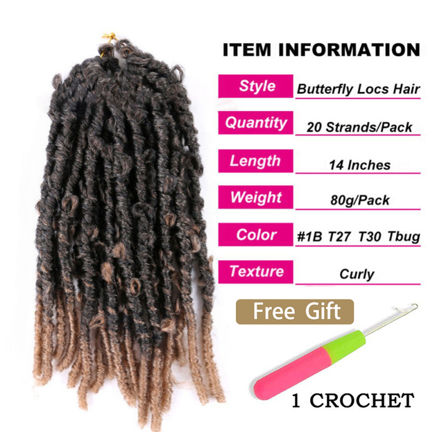 Butterfly Faux Locs Crochet Goddess Braids Synthetic Hair Extensions 20 Strands/pack 14inch Natural Black Braiding Hair BY195 3