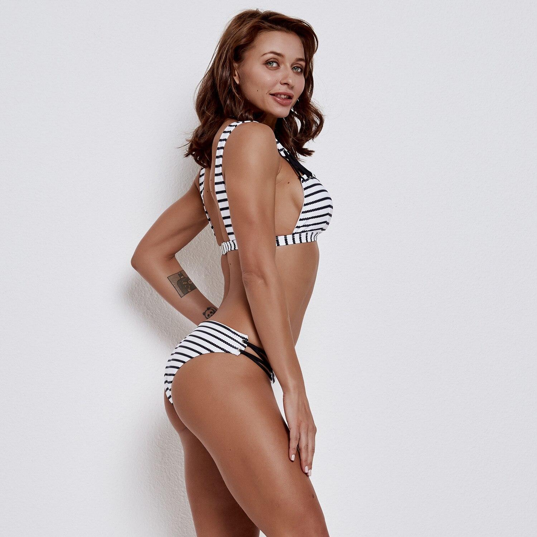 Sexy Bikini Large Bust Europe And America Bikini Bathing Suit Stripes Bikini Bandage Cloth Two-piece Swimsuits Women's Spa Resor