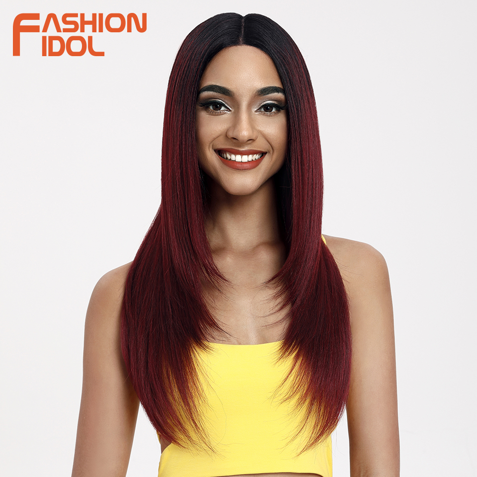 FASHION IDOL 26 Inch Heat Resistant Hair Straight Hair Synthetic Lace Front Wig Ombre Brown Wig Cosplay Wigs For Balck Women