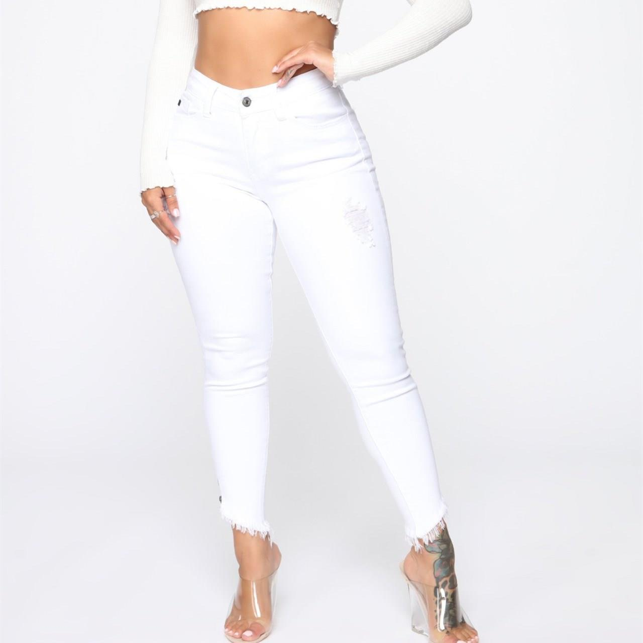 Women White Ripped Hole Jeans Skinny Casual Bodycon High Waist Denim Pants Female Pencil Trousers Solid Pants