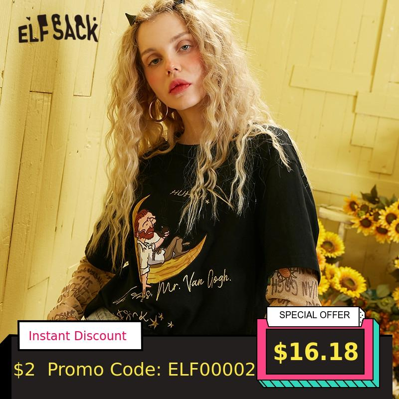 ELFSACK Black Graphic Applique Casual Women T Shirt 2020 Spring Letter Embroidery Long Sleeve Ladies Daily Fake Two Pieces Tops