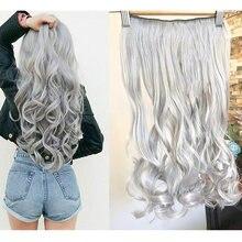 Lelinta cabelo 30 long long longo natural ondulado feminino grampo em extensões de cabelo preto marrom alta tempreture cabelo sintético peça
