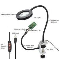 USB 3X lupe arbeit licht schweißen eisen unterstützung Schraubstock bench Clamp tisch Löten station 2 stück flexible arme