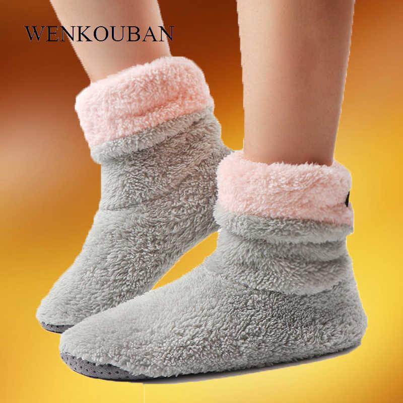 Enkellaarsjes Voor Vrouwen Warm Indoor Laarzen Winter Bont Thuis Schoenen Vrouwelijke Indoor Flats Botines Mujer Pluche Coral Fleece Vloer schoenen