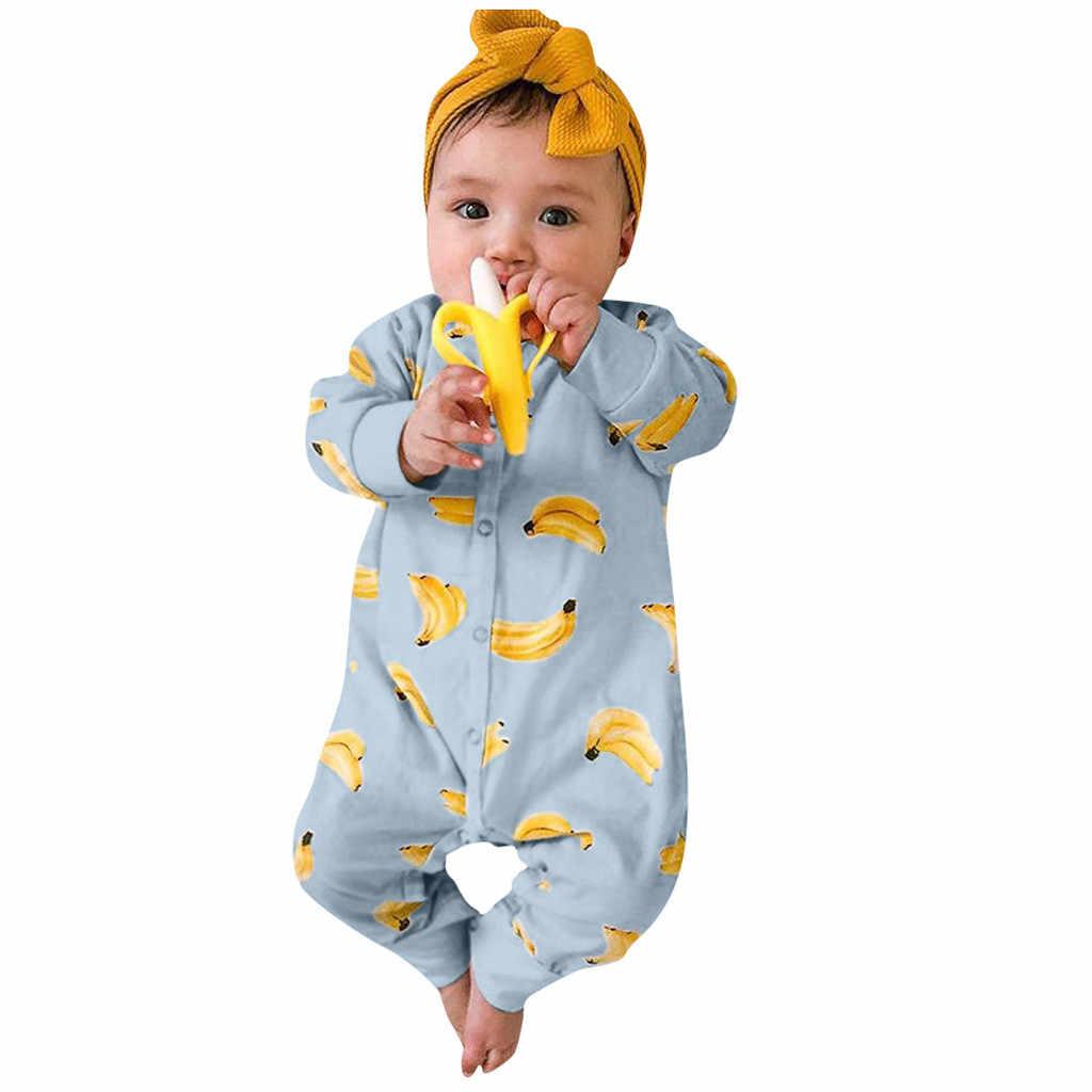 Bayi Baru Lahir Pakaian Bayi Laki-laki Baju Monyet Musim Dingin Kostum Romper Halloween Kombin Pisang Kartun Cetak Jumpsuit 0-12Months