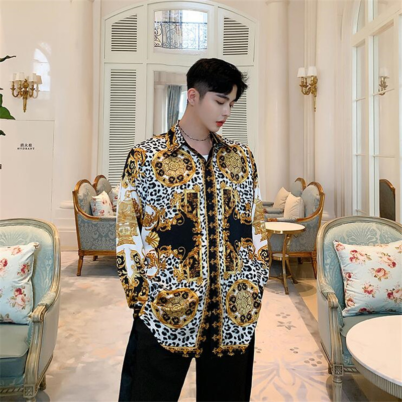 Men Long Sleeve Satin Style Vintage Print Loose Casual Chic Shirt Male Streetwear Hip Hop Party Dress Shirts Stage Show Costumes