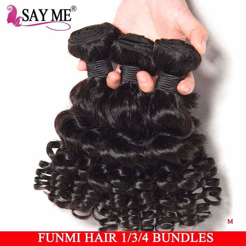 SAYME Bouncy Lockiges Menschliches Haar Bundles 3 4 Bundles Funmi Brasilianische Haarwebart Bundles Kurze Bob Remy Menschliches Haar Extensions