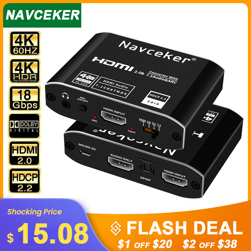 2020 HDMI Audio Extractor 4K HDMI SPDIF Converter 5.1 HDMI to HDMI to RCA Splitter Optic TOSLINK Switch Digital 7.1 HDMI Adapter