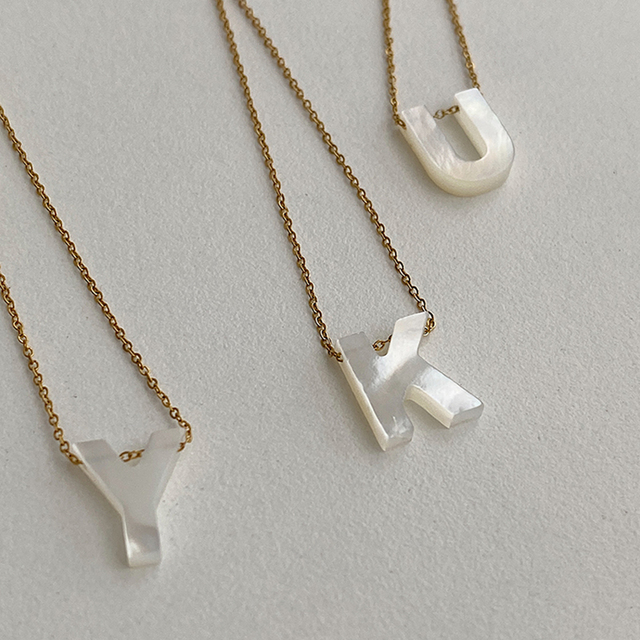 Peri'sBox Natural Sea Shell Letter Necklace Thin Chain Initial Necklaces for Women Dainty Pearl Choker Necklace Collier Coquilla 5