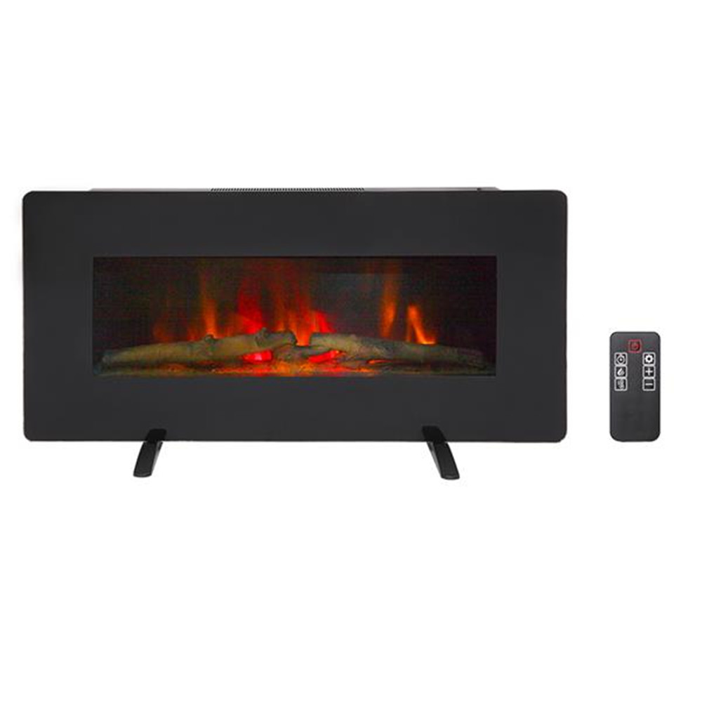 SF311-36G 36 Inch 1400W Wall Hanging / Fireplace Single Color / Fake Wood / Heating Wire / With Small Remote Control Black