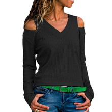 New Sweaters Fashion women 2019 Autumn Pullover Sexy V Neck Cold Shoulder Casual