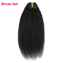 clip in hair extensions kinky straight hair 7 pcs per set 100G(China)