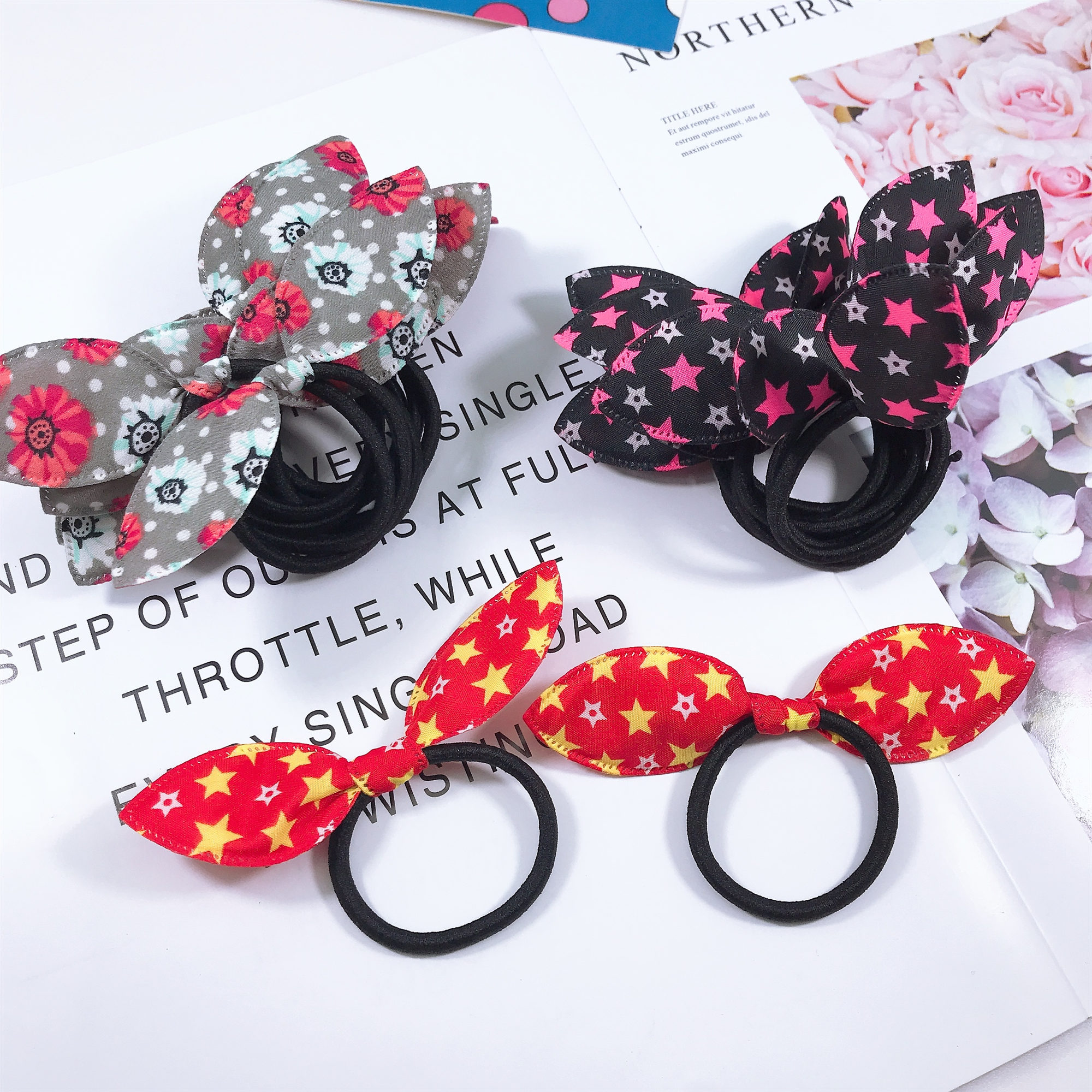 12PCS Mix Cute Princess Baby Ear Girl Hair Rope Girls Headwear Hair Band For Kid Rubber Bands Ponytail Holder Girls Accessories