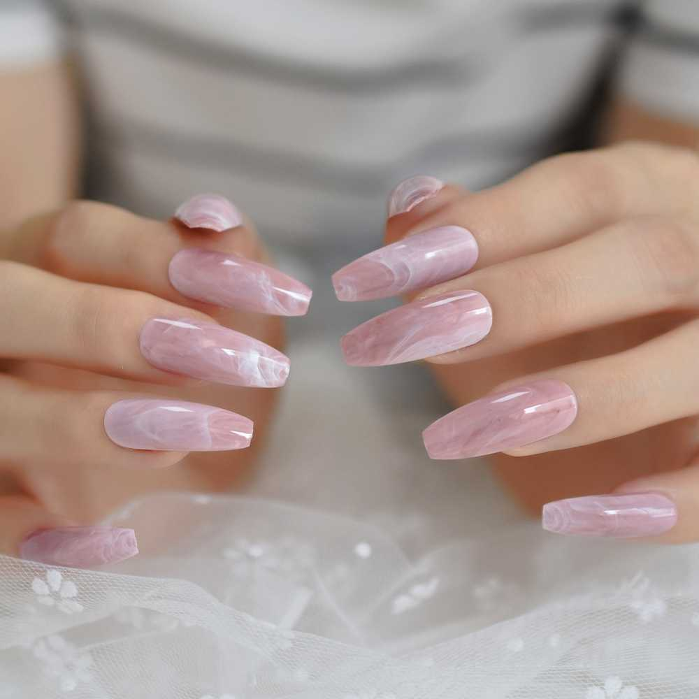 Long Coffin Nails Pink Marble Extra Long Glossy Stone Pattern Ballerina Nail Tips Fashion Pre Designed Nail With Glue Tabs Aliexpress