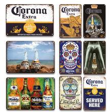 Corona Extra Plaque de métal signe Vintage bière étain affiche cuisine Tiki barre Plaque décorative rétro Art maison Stickers muraux
