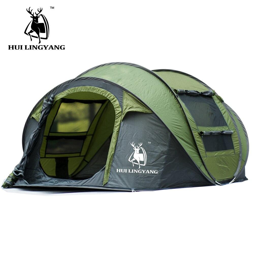 Grand espace Pop Up jeter tente extérieure 3-4 personnes tentes automatiques imperméable tentes de plage étanche famille Camping randonnée tentes