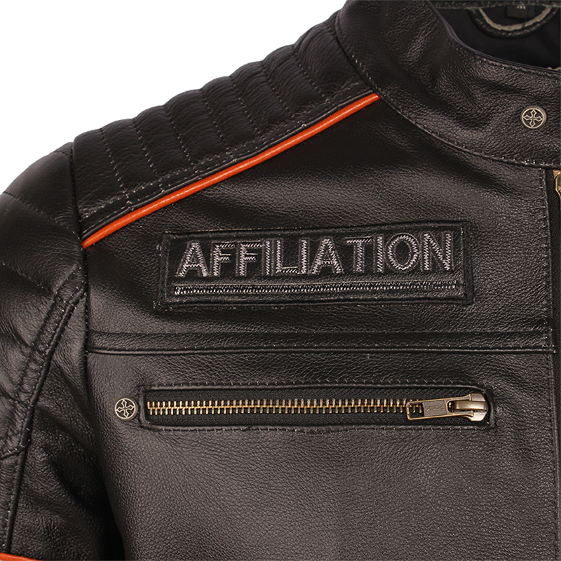 Image 3 - Black Embroidery Skull Motorcycle Leather Jackets 100% Natural Cowhide Moto Jacket Biker Leather Coat Winter Warm Clothing M219Genuine Leather Coats   -