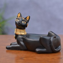 TOP!-Cigarette Ashtray Ancient Egyptian Bastet Cat Goddess Statue,Ash Holder for Smokers,Tabletop Smoking Ash Tray Home Office B(China)