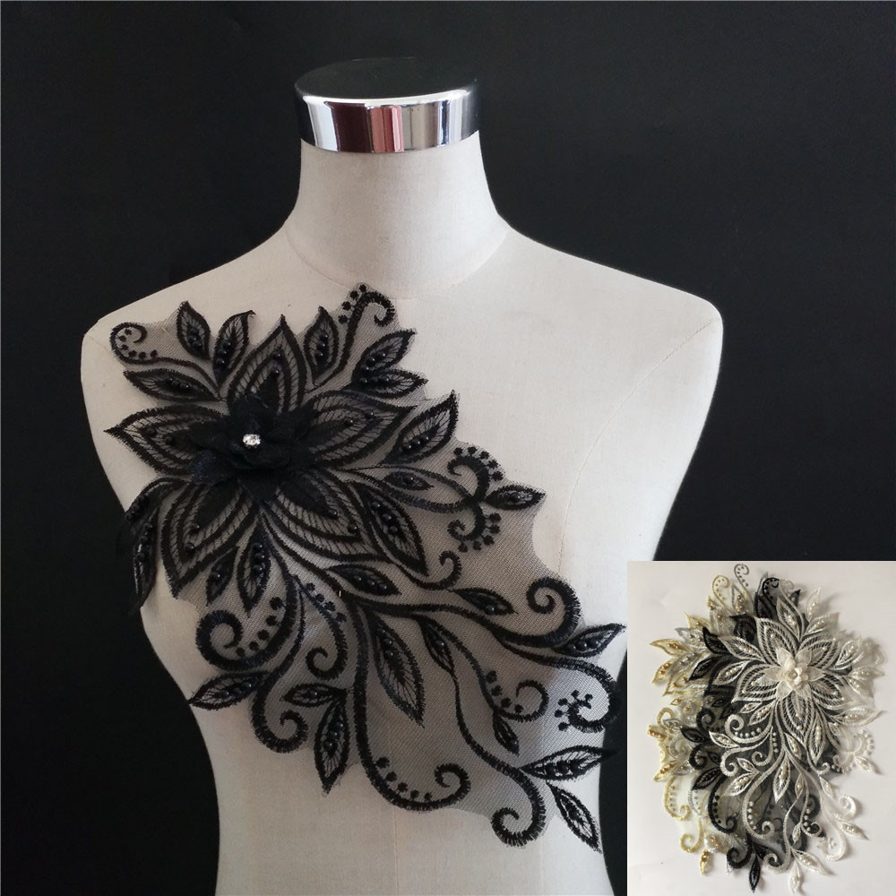 3D flower application ABS pearl Lace collar DIY Rhinestone Lace fabric laces Embroidery craft materials Dress Sewing accessories image