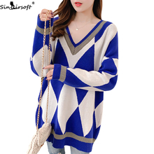 Autumn New Loose Lazy Style Pullover Long Best Sweater Women Harajuku Soft Comfortable Geometric Checkered Knit Top Knitting  lacy knitting comfortable checkered hollowed blanket for kids
