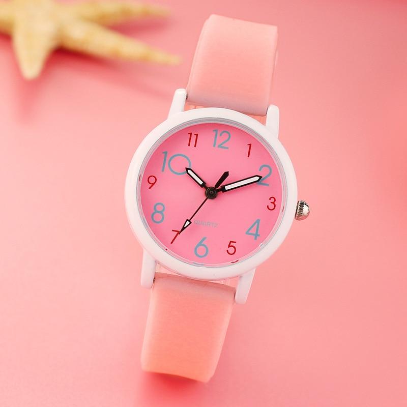 High Quality Trend Luminous Strap Korean Children's Watch Female Student Fashion Quartz Watch Christmas Gift