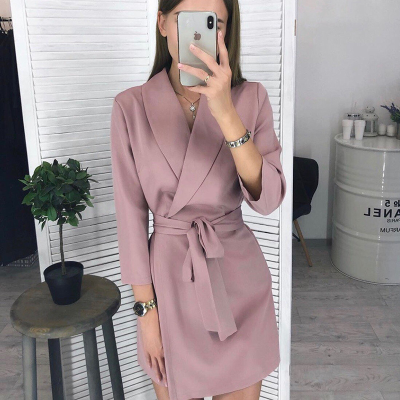 Casual Sashes Dress Women Office Ladies Solid Seven Sleeve Turn-down Collar Party Dress New Fashion Elegant Casual Mini Dresses