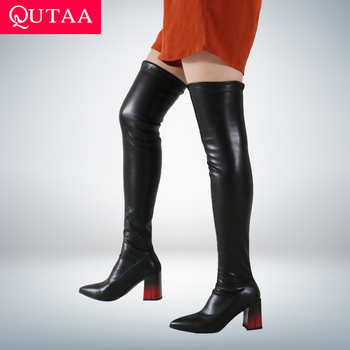 QUTAA 2021 Autumn Winter PU Over The Knee Women Boots Fashion Pointed Toe Stretch Square High Heel Shoes Size 34-43 - discount item  47% OFF Women's Shoes
