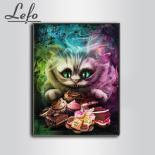 Cheshire cat, 5d diy diamante bordado venda alice imagem 3d completo, pintura diamante, ponto cruz, 3d, mosaico de diamante(China)
