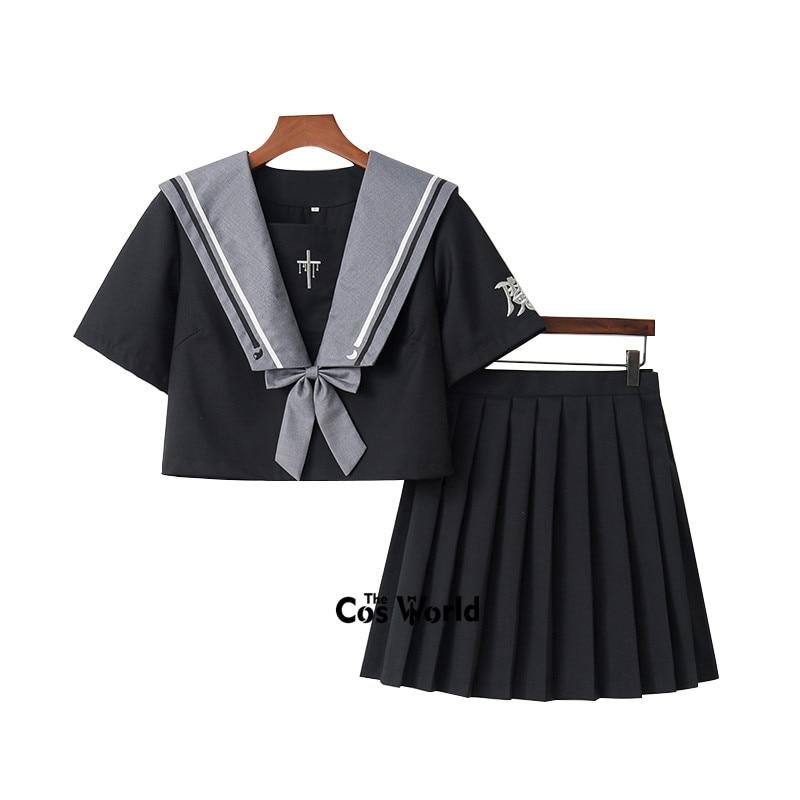 [Witch Rebirth] Black Summer Navy Sailor Suit Tops Skirts JK High School Uniform Class Uniform Students Cloth