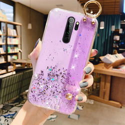Ultra-thin Bling Glitter Wristband Silicone Phone Case For Xiaomi Redmi Note 9 8 7 Mi 10 9 T 8 Lite F2 Pro Luxury Lanyard Cover