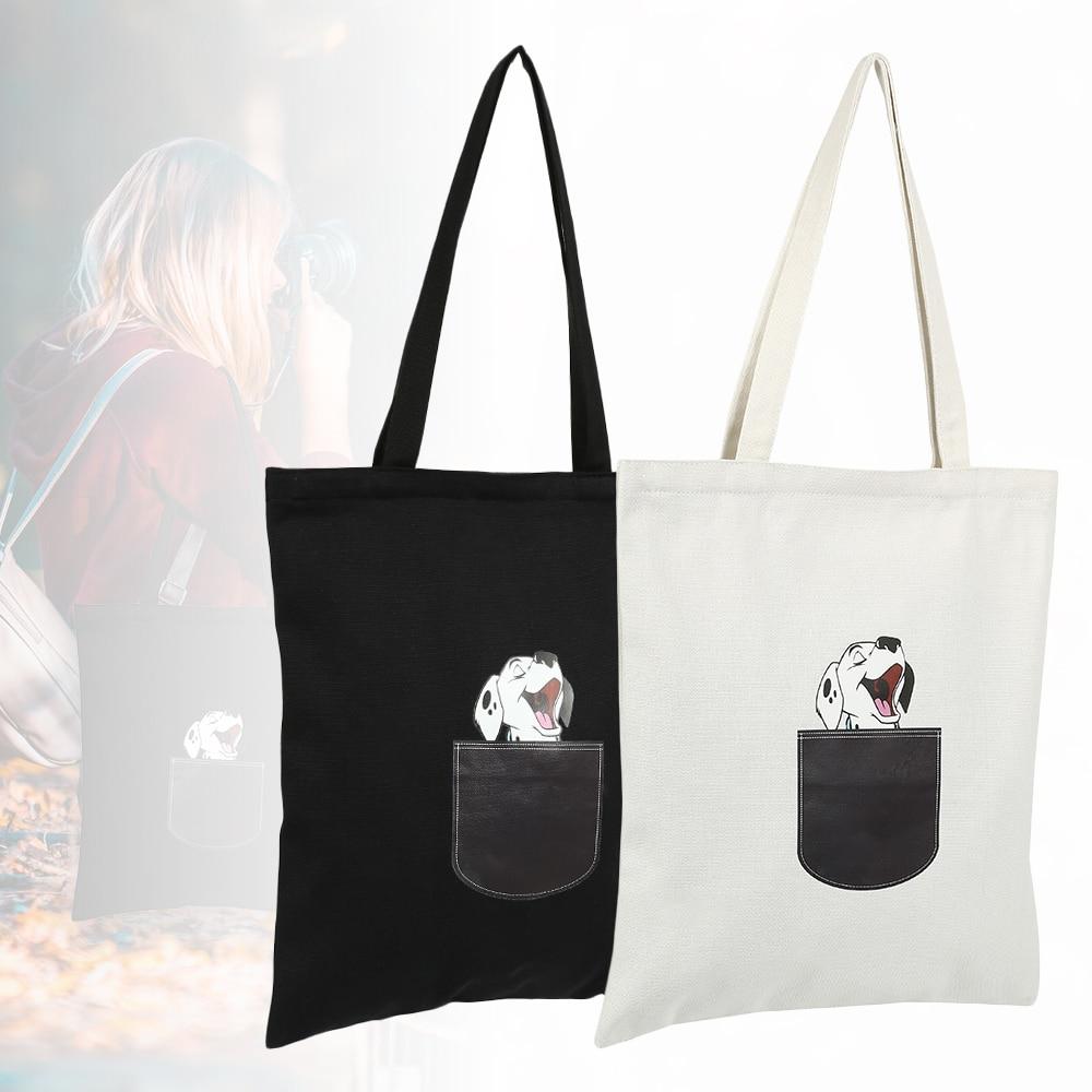 Canvas Tote Bag For Women Cloth Cartoon White Cross Body Shoulder Bag New Cute Cat Dog Shopping Bags Female Party Handbag