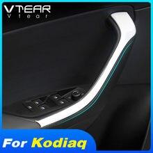 Vtear-cubierta de manija de puerta para coche Skoda Kodiaq, moldura para reposabrazos Interior, pegatina de estilismo embellecedora, accesorios de decoración