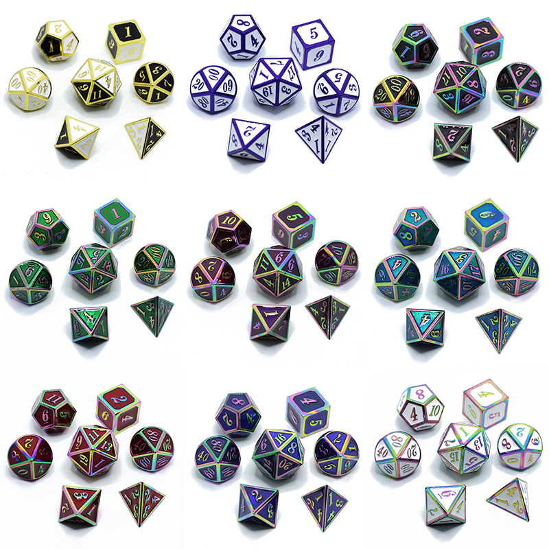 Metal Dice Dnd Dices Set Rpg Polyhedral Solid Dungeons And Dragons Table Games Zinc Alloy Green Digital D&d Dice 7pcs Dnd Dices